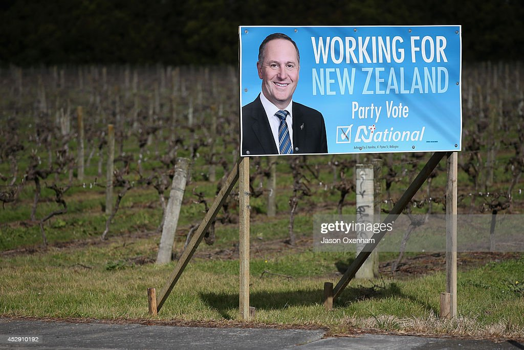 An election hoarding featuring the National leader John Key in Kumeu on July 30, 2014 in Auckland, New Zealand. New Zealand voters will head to the polls on September 20, 2014.