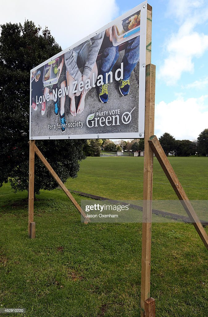 An election hoarding promoting the Green party in Mount Roskill on July 30, 2014 in Auckland, New Zealand. New Zealand voters will head to the polls on September 20, 2014.