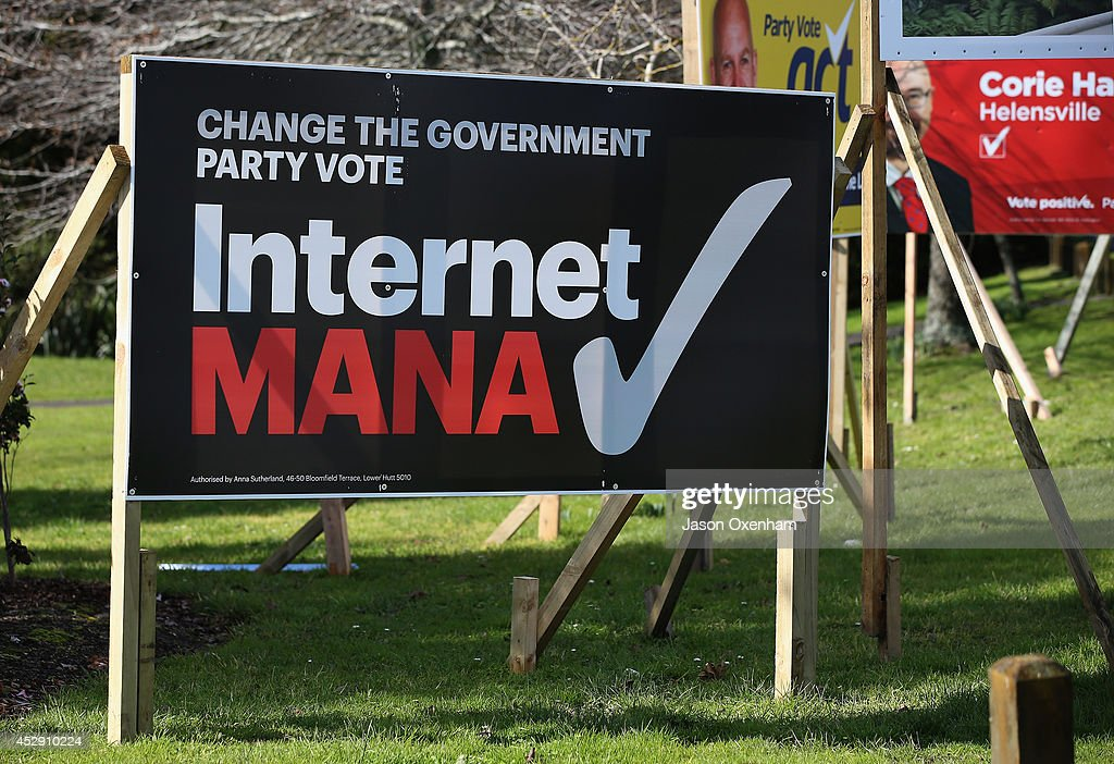 An election hoarding promoting the Internet Mana party in Kumeu on July 30, 2014 in Auckland, New Zealand. New Zealand voters will head to the polls on September 20, 2014.