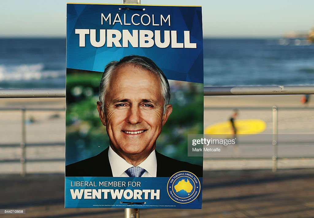 An election poster is seen at Bondi Beach in the electorate of Wentworth on July 2, 2016 in Sydney, Australia. Voters head to the polls today to elect the 45th parliament of Australia.