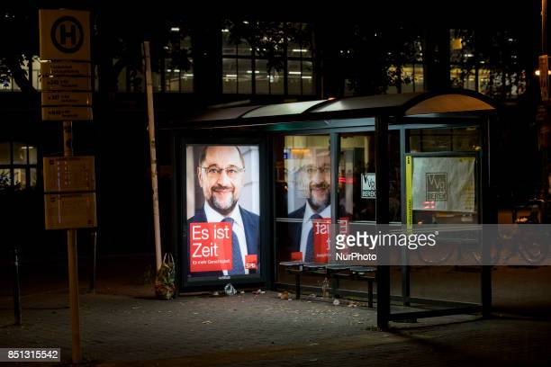 An election poster of chancellor candidate of the Social Democratic Party Martin Schulz is seen in a bus stop in the district of Friedrichshain in...