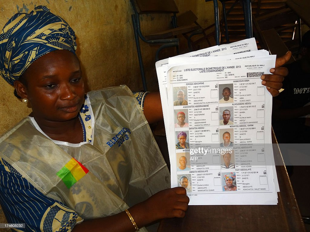 An electoral agent show a voters biometric list at a polling station in Gao during the presidential election in Mali on July 28, 2013. Malians defied Islamist death threats to vote today for a president expected to usher in a new dawn of peace and stability in the conflict-scarred nation. AFP PHOTO / BOUREIMA HAMA