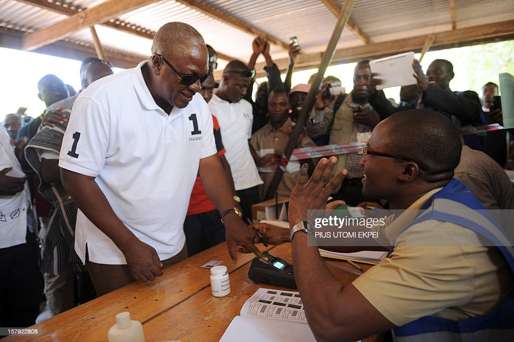 An electoral commission official checks the identification of the ruling National Democratic Congress president and presidential candidate John Dramani Mahama at the Bole polling station in the Bole Bamboi constituency, northern Ghana, on December 7, 2012. Ghana voted in a high-stakes presidential election on December 7 which is expected to be close, with the emerging country seeking to live up to its promise as a beacon of democracy in turbulent West Africa.