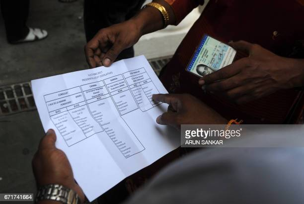 An electoral officer examines a French registration card of an IndoFrench citizen as she arrives to cast her vote at a polling booth in Puducherry on...