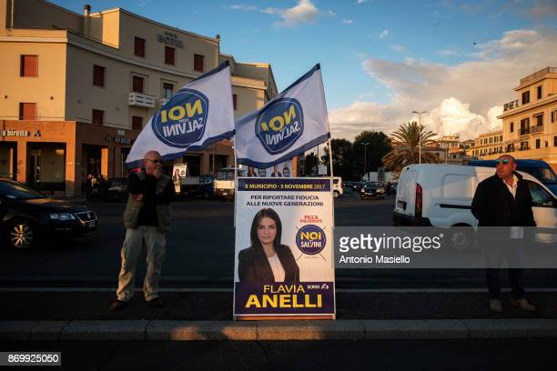 An electoral poster of Flavia Anelli Noi Con Salvini during the closing act of the electoral campaign for presidency of Ostia's city hall suburb of...