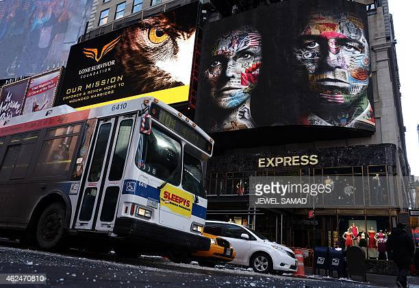 An electric billboard advertises television show 'The Americans' in New York's Times Square on January 29 2015 The show a critically acclaimed...