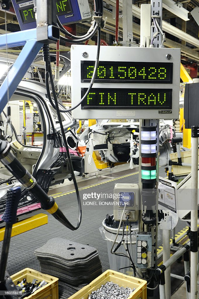 An electric board reading 'April 29, 2015, end of work' is pictured on January 28, 2013 at the PSA Peugeot Citroen carmaker plant of Aulnay-sous-Bois, a Paris' suburb, as on-strike workers occupy the factory to protest against plans to sell the plant and lay off thousands of employees.