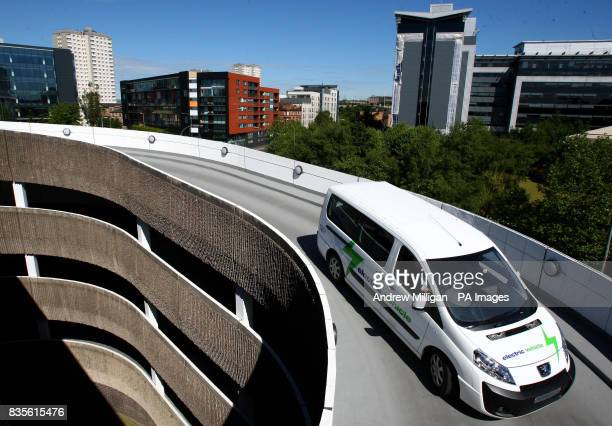 An electric car is driven in Concert Square car park in Glasgow Allied Vehicles who are part of the Scottish consortium behind the Peugeot Electric...