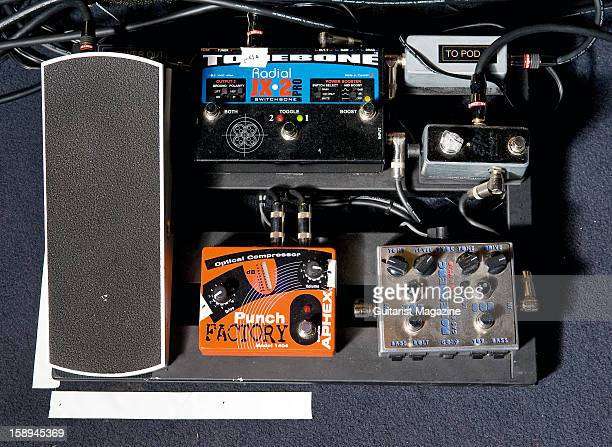 An electric guitar effects pedal board owned by American jazz guitarist Lee Ritenour photographed during a shoot for Guitarist Magazine May 24 2012