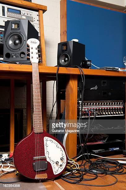 An electric Sitar guitar owned by British progressive rock musician Steve Hackett photographed during a shoot for Guitarist Magazine July 15 2012