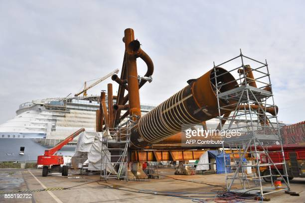An electric substation for an offshore windmill park under construction is pictured at the site of French shipyard STX in SaintNazaire western France...