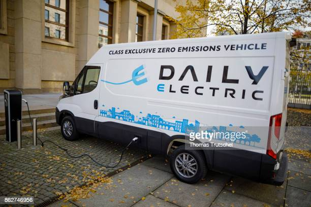 An electric truck is loaded at an charging station for electric cars on October 18 2017 in Berlin Germany