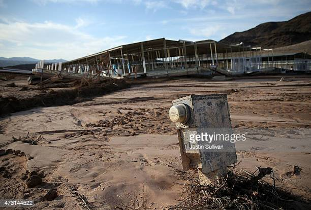 An electrical box sits in the mud neat a boat dock at the abandoned Echo Bay Marina on May 12 2015 in Lake Mead National Recreation Area Nevada As...