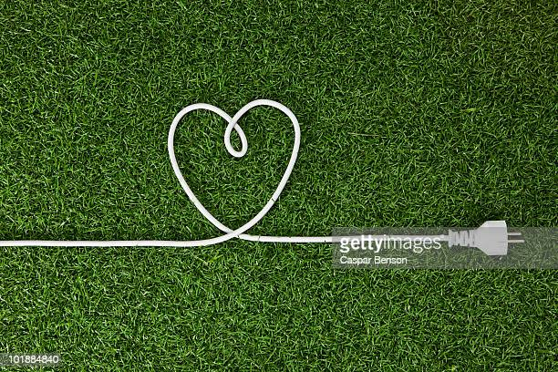 An electrical cord arranged in a heart shape on grass