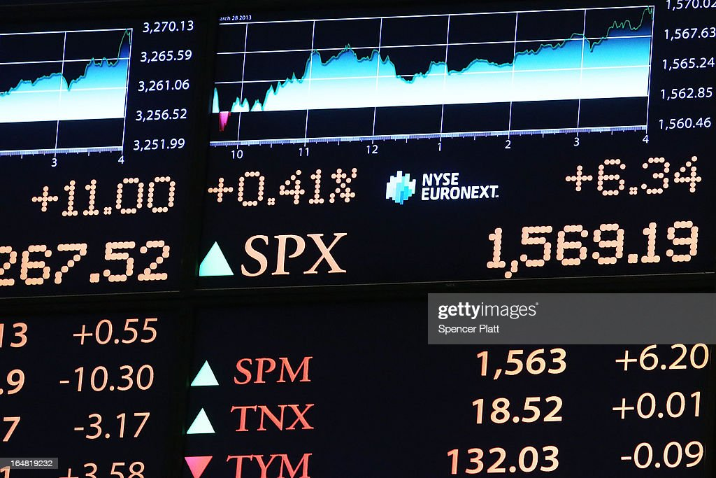 An electronic board at the New York Stock Exchange shows the closing number for the S&P 500 on March 28, 2013 in New York City. The S&P 500 finished at an all time high, gaining 6 points, or 0.4%, to end at a record close of 1569.19.