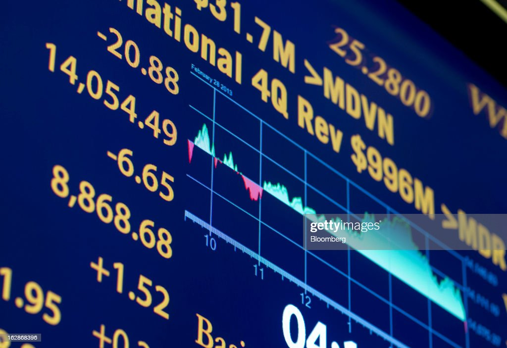 An electronic board displays trading activity and the Dow Jones Industrial Average on the floor of the New York Stock Exchange (NYSE) in New York, U.S., on Thursday, Feb. 28, 2013. U.S. stocks erased gains in the final half hour of trading after the Senate rejected a pair of partisan proposals to replace $85 billion in automatic spending cuts scheduled to start tomorrow. Photographer: Jin Lee/Bloomberg via Getty Images
