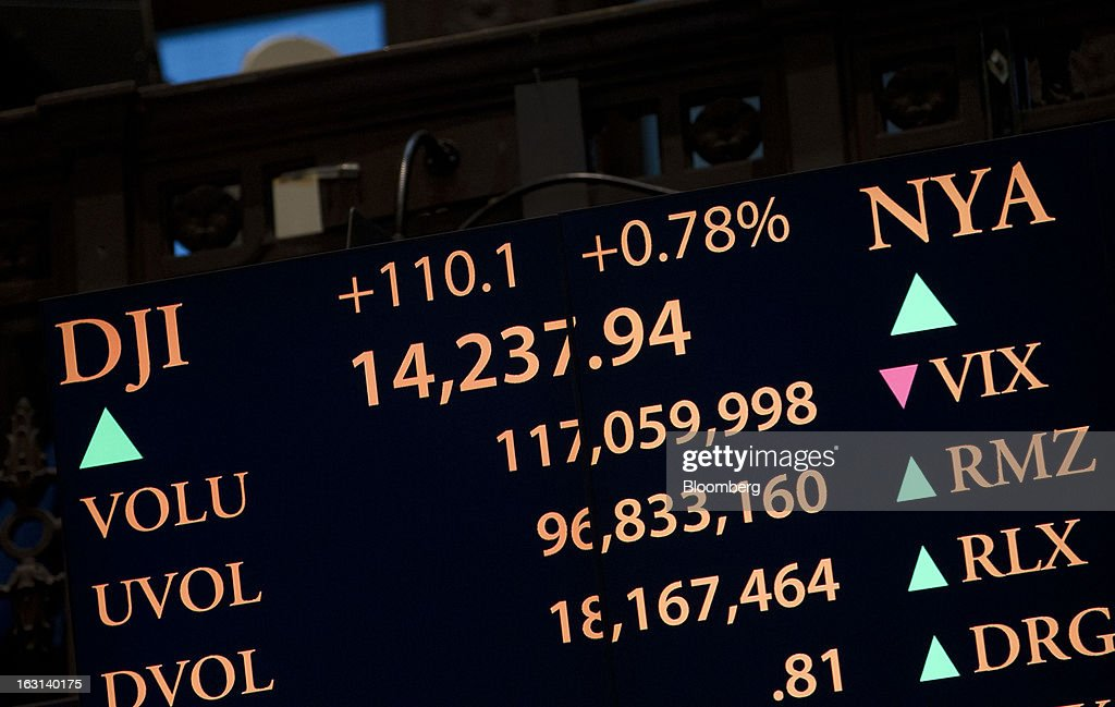 An electronic board displays trading activity and the Dow Jones Industrial Average on the floor of the New York Stock Exchange (NYSE) in New York, U.S., on Tuesday, March 5, 2013. Stocks rallied, sending the Dow Jones Industrial Average to a record, and metals climbed as China vowed to maintain its growth target and investors bet central banks will continue stimulus measures. Treasuries fell for a second day and the dollar weakened against most peers. Photographer: Jin Lee/Bloomberg via Getty Images