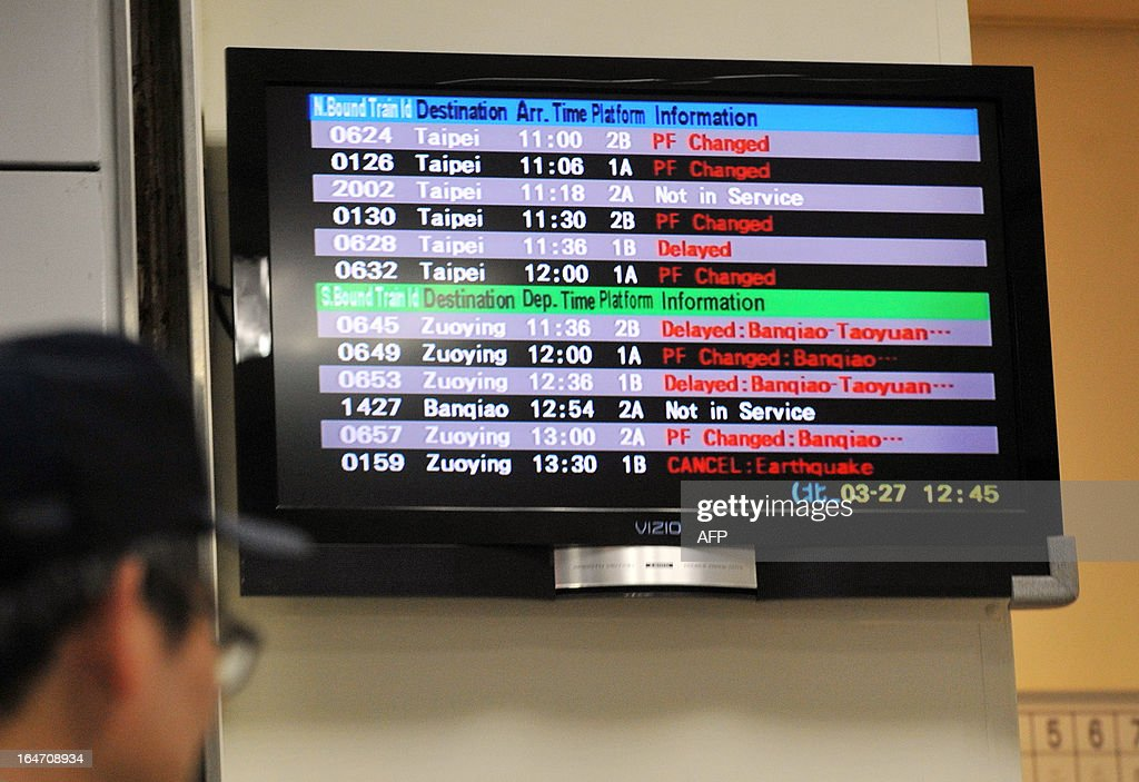An electronic board showing disruptions to high-speed rail trains is displayed at Taipei's main station following an earthquake on March 27, 2013. A strong earthquake killed one person and injured 19 others in Taiwan on March 27 as violent shock waves damaged buildings and triggered a blaze, emergency officials said. AFP PHOTO / Mandy CHENG
