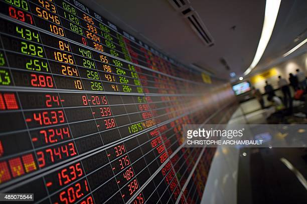 An electronic board showing stock movements is pictured at a securities firm in Bangkok on August 24 2015 At midday Bangkok's stock market had...