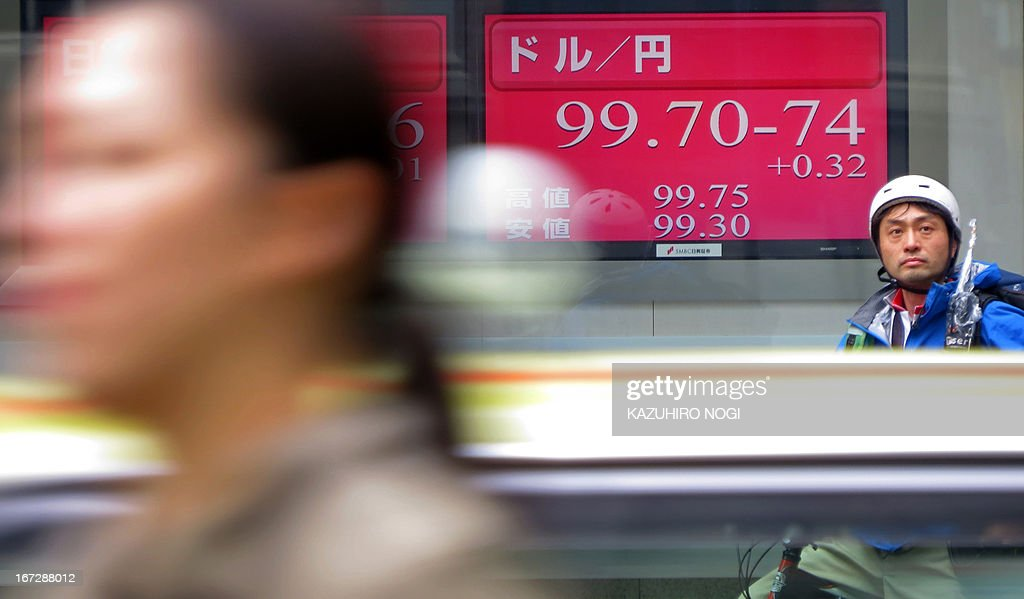 An electronic board (rear) shows figures of the foreign exchange rate of the yen against one US dollar in Tokyo on April 24, 2013. The dollar bought 99.67 yen in Tokyo early on April 24, up from 99.48 yen in New York and 98.81 yen in Tokyo on April 23. AFP PHOTO / KAZUHIRO NOGI