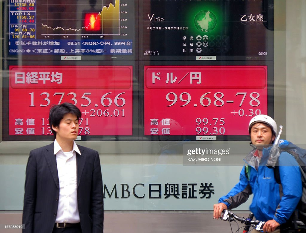 An electronic board (rear) shows figures of the Tokyo Stock Exchange (L) and the foreign exchange rate of the yen against one US dollar (R) in Tokyo on April 24, 2013. Tokyo stocks opened 1.17 percent higher on April 24, buoyed by a weaker yen and a solid performance on Wall Street, where shares briefly fell on a bogus Twitter message about blasts in the White House.