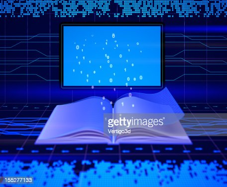 An electronic book with lights beaming out of it