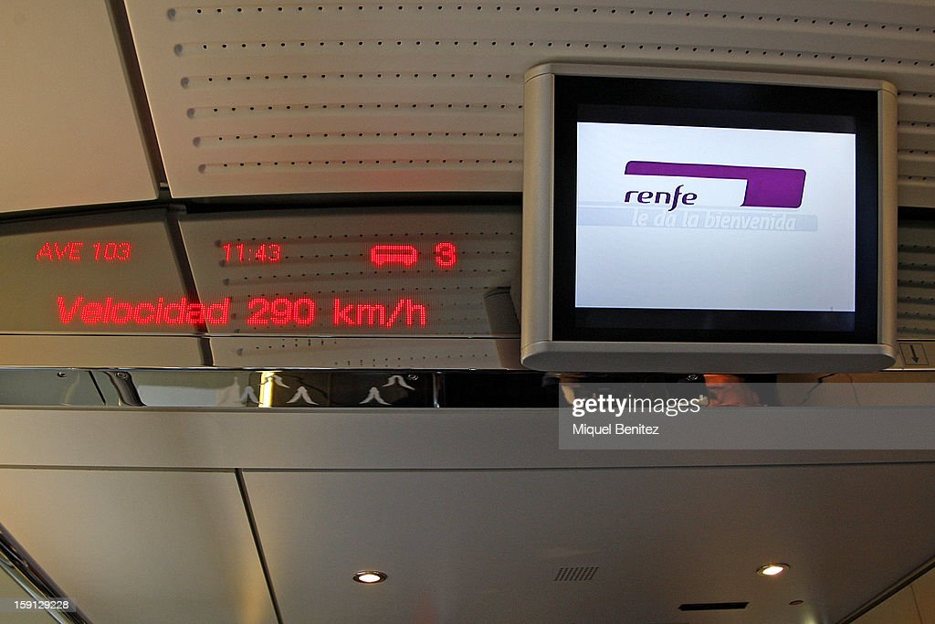 An electronic display shows the train's speed as being 290 Km/h, at the inauguration of the AVE high-speed train line between Barcelona and the French border on January 8, 2013 in Barcelona, Spain.