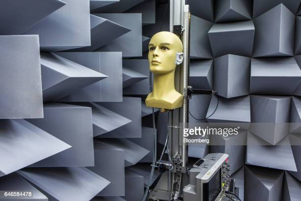 An electronic dummy head used for testing sound perception sits in an anechoic chamber at the Noveto Systems Ltd office in Petach Tikva Israel on...
