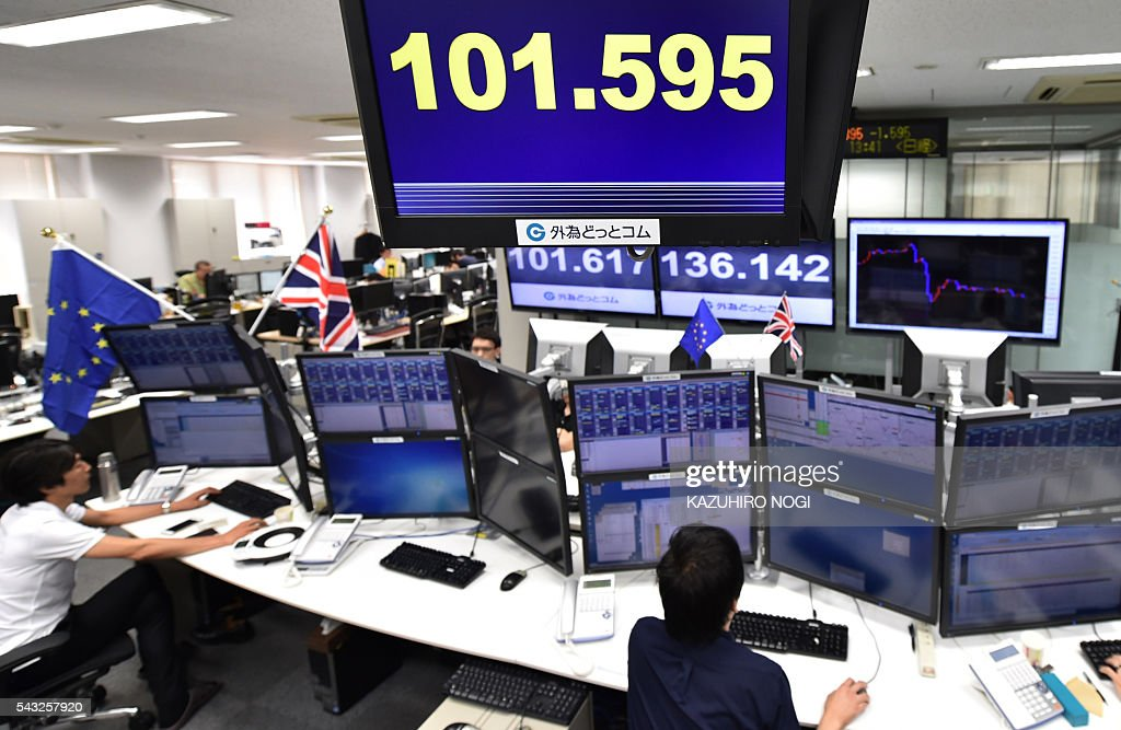 An electronic indicator (top) shows a foreign exchange rate against the US dollar (101.595 yen) at a foreign exchange brokerage in Tokyo on June 27, 2016. The pound was sitting at three-decade lows June 27 morning as currency markets were left reeling from Britain's shock decision to leave the European Union. / AFP / KAZUHIRO