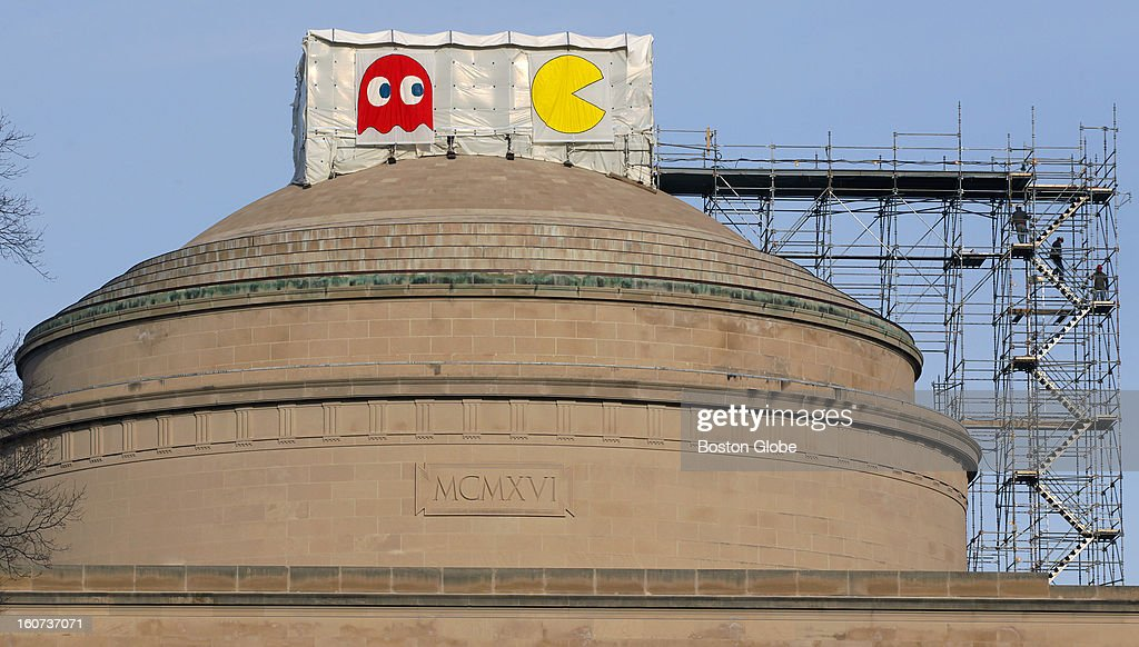 An electronic Pac man was erected on top of the dome in this year's annual MIT prank , Jan. 11, 2013.