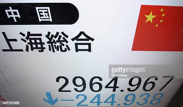 An electronic stock board displays the Shanghai Composite Index outside a securities firm in Tokyo Japan on Tuesday Aug 25 2015 Chinese shares...