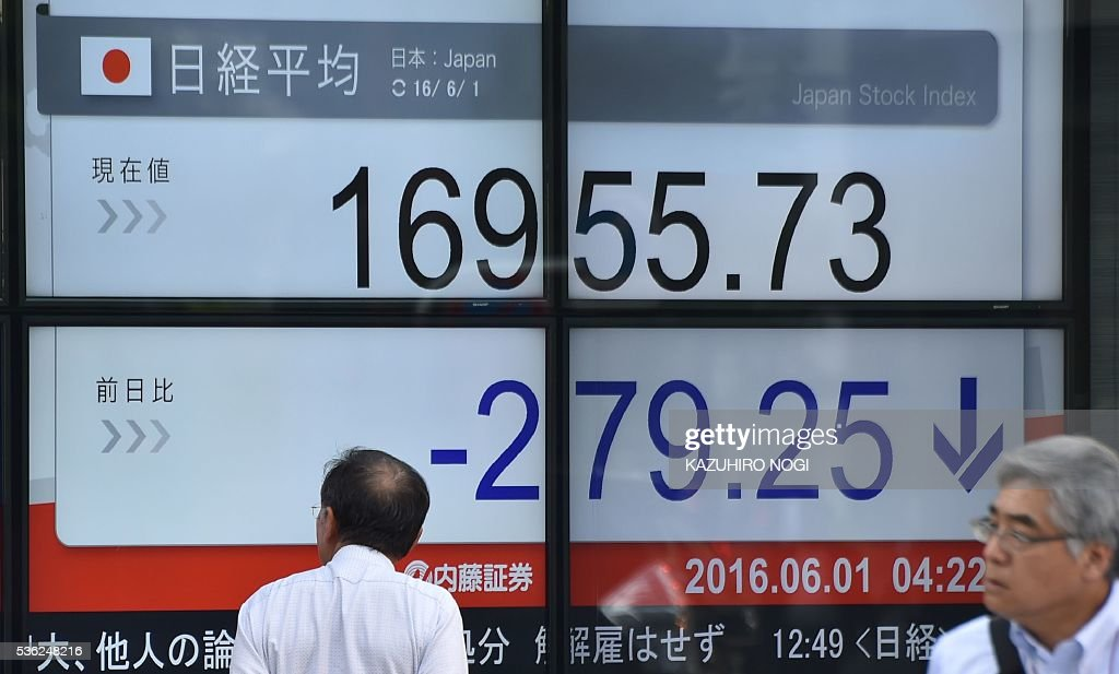 An electronic stock quotation board is displayed at the window of a securities company in Tokyo on June 1, 2016. Tokyo stocks dropped June 1, snapping a five-day winning streak, as the yen surged on news that Japan's prime minister would delay a sales tax rise that threatened the nation's fragile economy. / AFP / KAZUHIRO