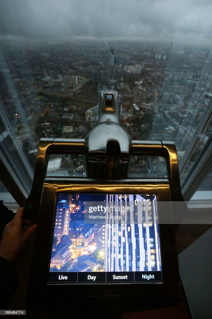 An electronic telescope looks out over the skyline from the View from the Shard on it's opening morning on February 1, 2013 in London, England. Level 72 is the highest viewing gallery in The View from The Shard, and the highest vantage point in Western Europe.