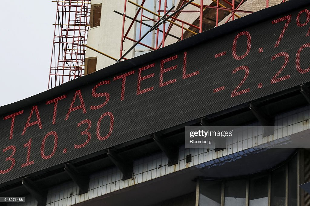An electronic ticker board displays the stock figures for Tata Steel Ltd. at the Bombay Stock Exchange (BSE) in Mumbai, India, on Monday, June 27, 2016. Most Indian stocks advanced, led by companies tied to the economy, as some investors judged Friday's Brexit-induced selloff is overdone. Tata Consultancy Service Ltd. (TCS) and Infosys Ltd., India's top software exporters that earn about a quarter of their revenue from Europe, were the biggest losers on the benchmark S&P BSE Sensex. Photographer: Dhiraj Singh/Bloomberg via Getty Images