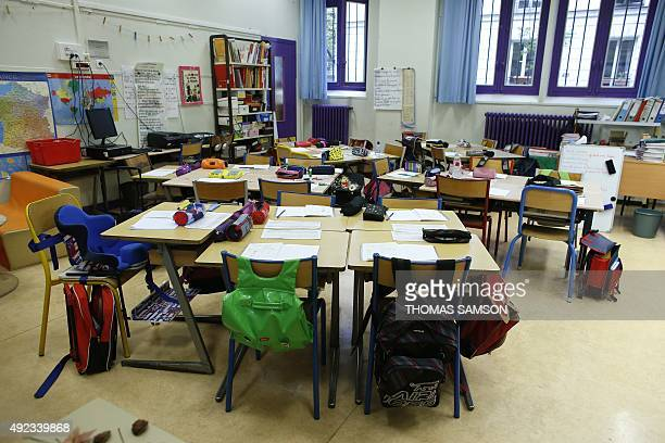 An elementary school classroom is pictured on October 12 2015 in Paris AFP PHOTO / THOMAS SAMSON