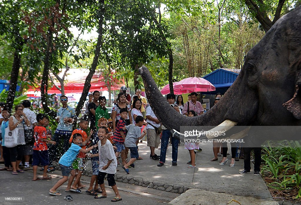 An elephant sprays water over children to promote the Songkran festival at Dusit Zoo in Bangkok on April 10, 2013. Songkran is the Thai New Year which starts on April 13 during which people celebrate by splashing water over each other.