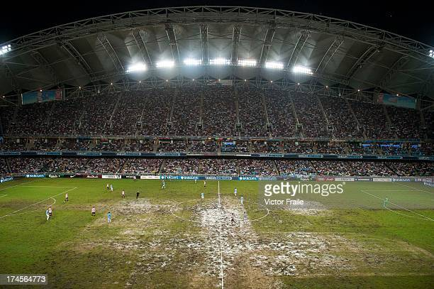An elevated general view of the pitch during the Barclays Asia Trophy Final match between Manchester City and Sunderland at Hong Kong Stadium on July...
