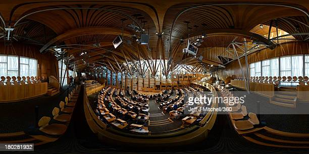 An elevated panoramic view of The Chamber during a meeting in session of the Scottish Parliament on September 10 2013 in Edinburgh Scotland The...