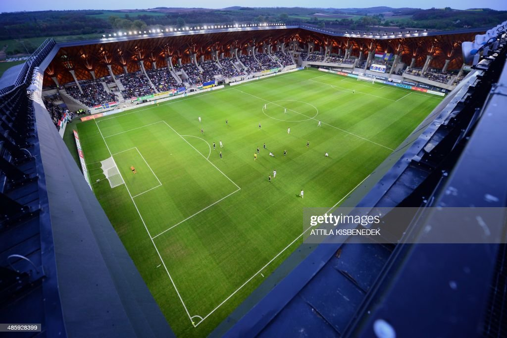 An elevated view during the U17 final football match of the international Easter cup between Spanish Real Madrid and Hungarian Puskas Academy of the 'Pancho' (alias Hungarian-Spanish football legend Ferenc Puskas) Stadium of Puskas Academy' in Felcsut village, Hungary, on April 21, 2014 after the inauguration ceremony of the local stadium.
