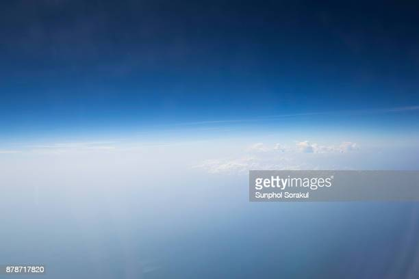 An elevated view of Bay of bengal through airplane window