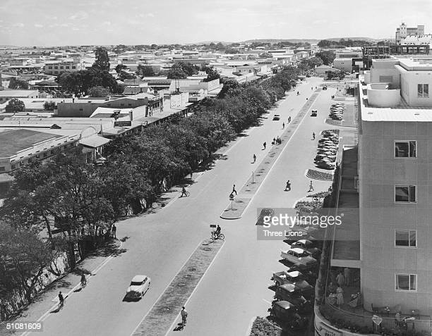 An elevated view of Cairo Road North in Lusaka Northern Rhodesia circa 1955 The picture was taken from the roof of Woodgate House