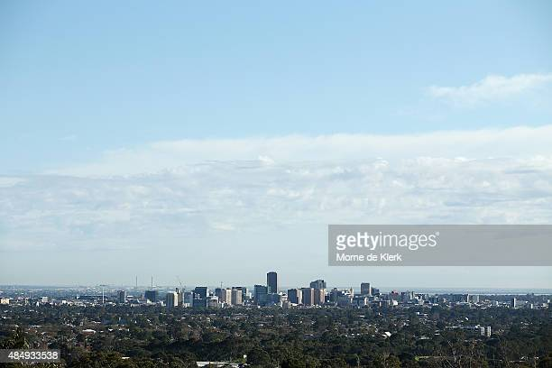 An elevated view of the Adelaide city skyline General views of Adelaide on August 23 2015 in Adelaide Australia