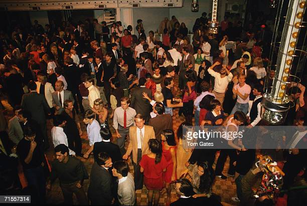 An elevated view of the crowded dance floor at the Studio 54 disco in New York 10th October 1981