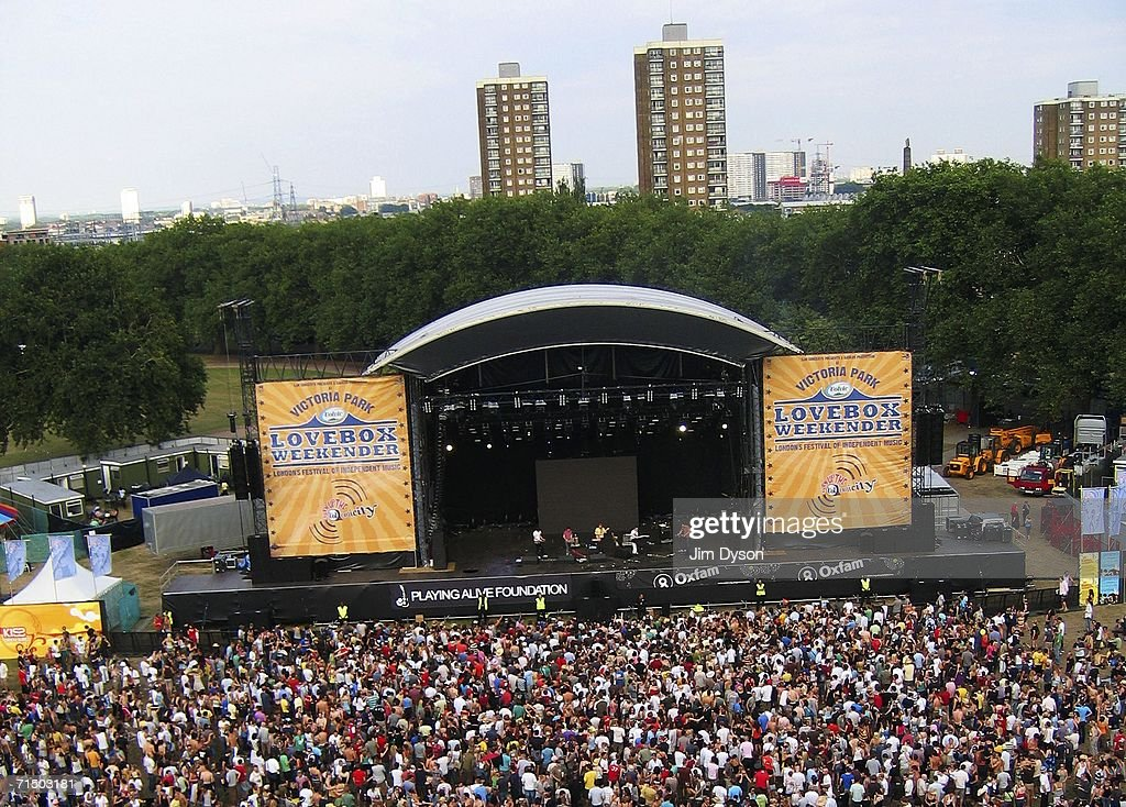 An elevated view of the festival site during the first day of the Volvic Lovebox Weekender held in Victoria Park on July 22 2006 in East London...
