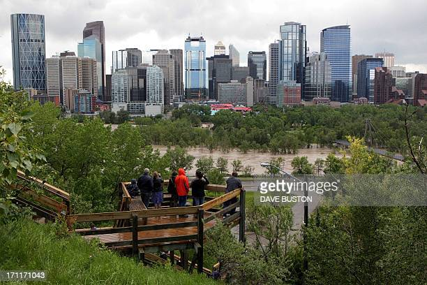An elevated view of the flooding at Bow River gives lookers a view next to the downtown core in Calgary Alberta Canada June 22 2013 Water levels have...