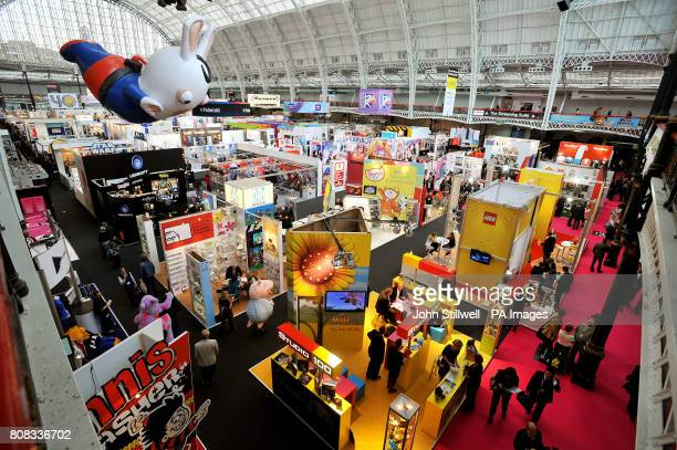 An elevated view of the Grand Hall Olympia in central London where the European Brand Licensing Exhibition is taken place over two days