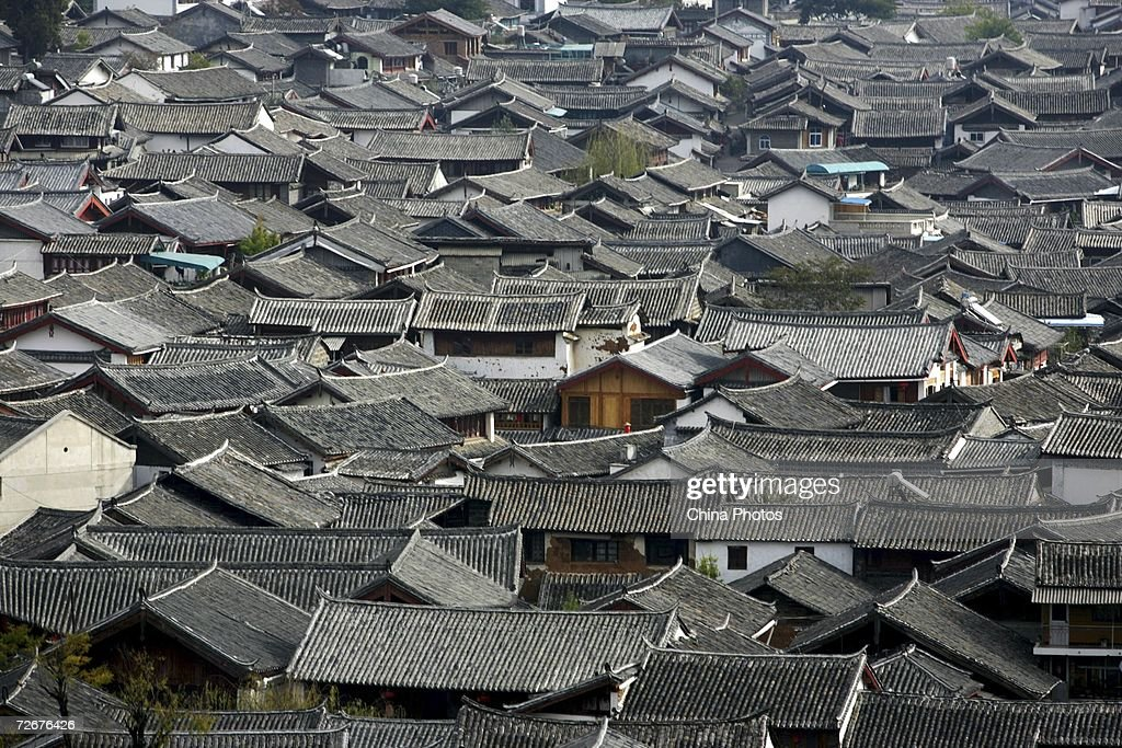 An elevated view of traditional houses is seen on November 23 2006 in Lijiang ancient township of Yunnan Province China The Lijiang town has a...