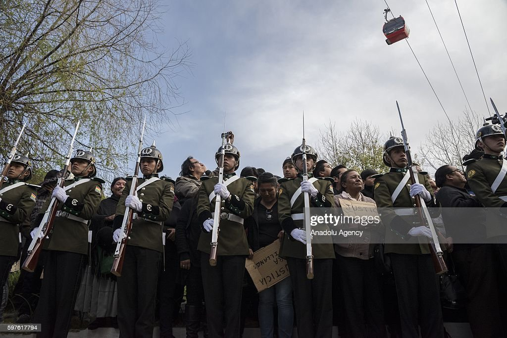 An elite police group line during the burial of Deputy Minister Rodolfo Illanes at the General Cemetery in La Paz Bolivia on August 28 2016 Deputy...