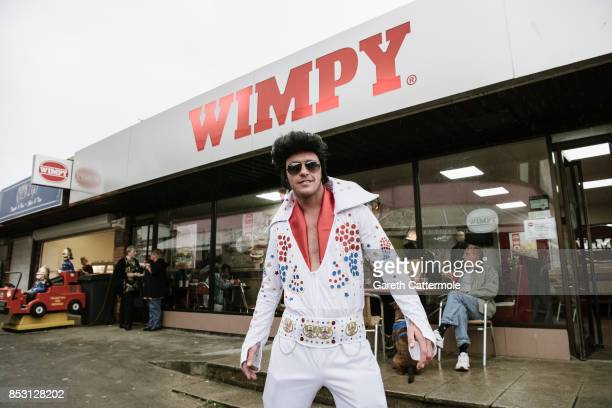 An Elvis impersonator poses at 'The Elvies' on September 24 2017 in Porthcawl Wales 'The Elvies' is an annual gathering of Elvis fans and tribute...