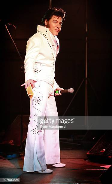 An Elvis tribute artists takes part in the European Elvis Championships at the Hilton Hotel on January 6 2011 in Birmingham England Eighty...